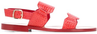 Santoni Low Heel Croc Embossed Sandals