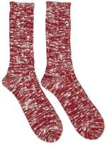 Anonymous Ism Slub Crew Red & White Socks - Red