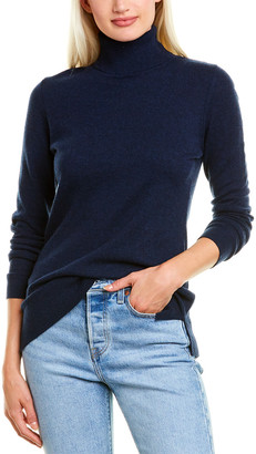Forte Cashmere Fitted Cashmere Turtleneck Sweater
