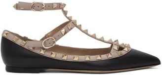 Valentino Pink and Black Garavani Rockstud Caged Ballerina Flats
