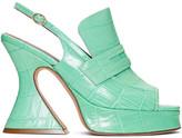 Sies Marjan Green Croc Ellie Loafer Heels