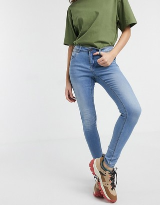 Noisy May high waisted body shaping jeans in light blue denim