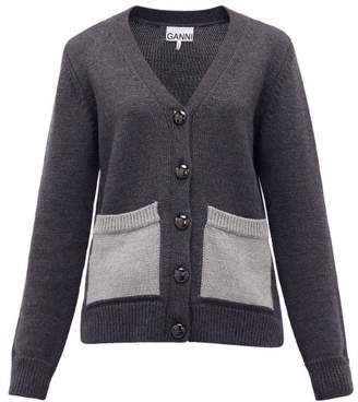 Ganni Patch-pocket Wool Cardigan - Womens - Dark Grey