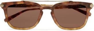 Brioni D-Frame Tortoiseshell Acetate Sunglasses