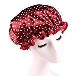 Lvge Microfiber Double Layers Elastic Reusable Waterproof Shower Cap Red Polka Dots