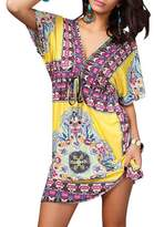 Pinkyee Deep V Bohemia Beach Dress Cover Up