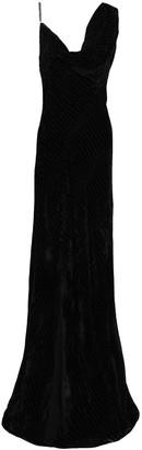 Roberto Cavalli Split-front Draped Devore-velvet Gown