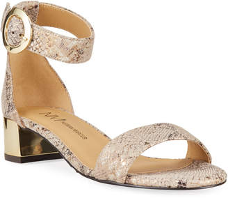 Neiman Marcus Honna Snake-Print Ankle-Strap Sandals