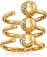Rebecca Minkoff Triple Pave Ball Gold Ring, Size 7