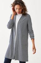 J. Jill Mixed-Stripes Double-Knit Cardi