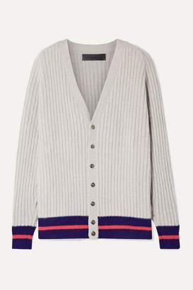 The Elder Statesman Striped Ribbed Cashmere Cardigan - Light gray