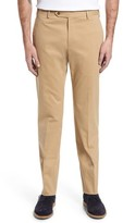 Zanella Men's Parker Flat Front Solid Stretch Cotton Trousers