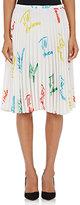 J.W.Anderson Women's Logo-Print Pleated Satin Skirt-WHITE