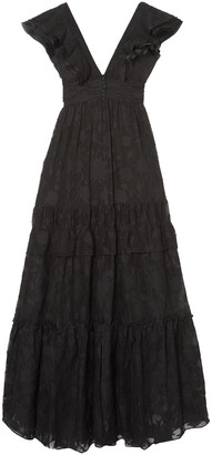Rachel Zoe Violet Ruffled Fil Coupe Cotton And Silk-blend Gown