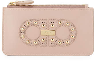 Salvatore Ferragamo Gancini Studded Small Zip Wallet