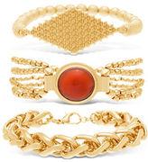 Steve Madden Multi-Chain Red Stone & Textured Center Plate Bracelet Set- 3 Piece