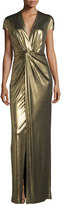 Halston Gown with Front Twist Detail, Bronze