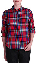 Allison Daley Metallic Plaid Twill Roll-Tab Shirt