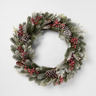 "28"" Christmas Frosted Pine & Berry Wreath - ThresholdTM"