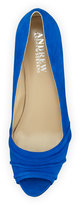 Andrew Stevens Carina Kid Suede Peep Toe Pump, Royal Blue Suede