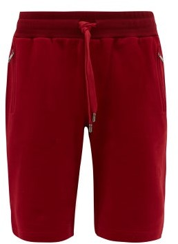 Dolce & Gabbana Logo-plaque Cotton-jersey Track Shorts - Mens - Red