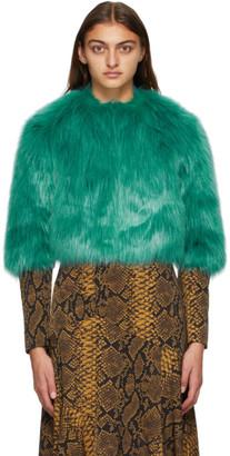 Dries Van Noten Blue Faux-Fur Cropped Jacket