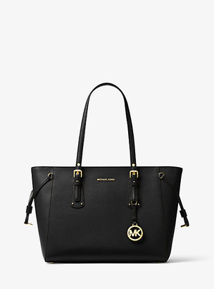 MICHAEL Michael Kors MK Voyager Medium Crossgrain Leather Tote Bag - Black - Michael Kors