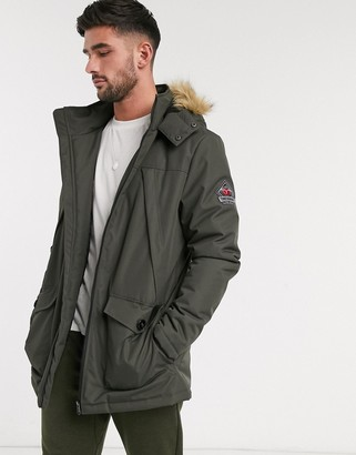 Threadbare parka with faux fur hood in khaki