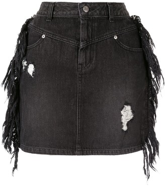 Sjyp Side Fringe Mini Denim Skirt