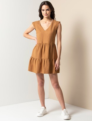 Forever New Janelle Smock Mini Dress - Tan - 10