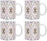 Deny Designs Ikat Java Rose Ceramic Coffee Mugs (Set of 4)