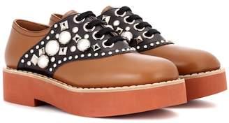 Miu Miu Embellished leather Derby shoes