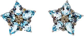 Arthur Marder Fine Jewelry Silver 0.42 Ct. Tw. Diamond & Blue Topaz Earrings