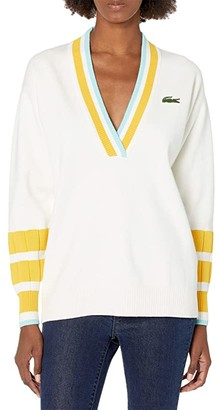 Lacoste Long Sleeve Crew Neck Solid Color Sweater (Flour/Wasp Pond) Women's Clothing
