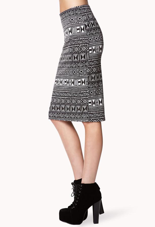 Forever 21 Tribal Print Pencil Skirt