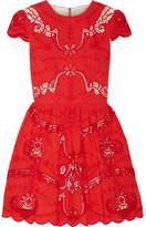 Alice + Olivia Alice Olivia - Karen Broderie Anglaise Cotton Mini Dress - Red