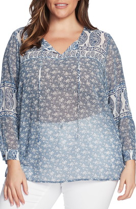 Vince Camuto Mixed Print Tie Neck Peasant Blouse