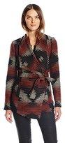 Jack by BB Dakota Women's Ruthwood Aztec Pattern Jacquard Wrap Coat