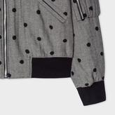 Paul Smith Women's Herringbone Bomber Jacket With Flocked Polka Dots