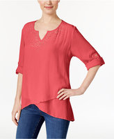 JM Collection Petite Asymmetrical Crinkle Tunic, Only at Macy's