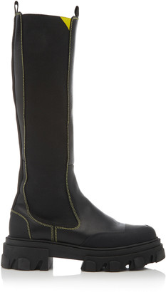 Ganni Lug-Sole Leather Knee-High Boots