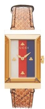 Gucci G-frame Snakeskin Watch - Brown