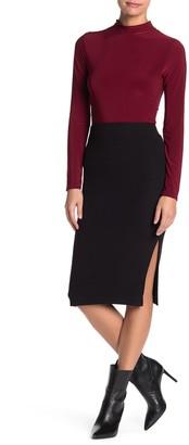 Sanctuary Ribbed Knit Side Slit Midi Skirt (Petite)