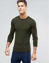 Asos Cotton Crew Neck Jumper In Muscle Fit