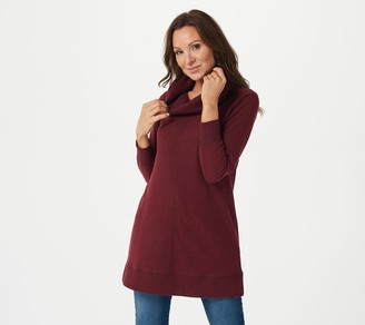 Denim & Co. Active Petite Brushed Heavenly Jersey Cowl Neck Tunic