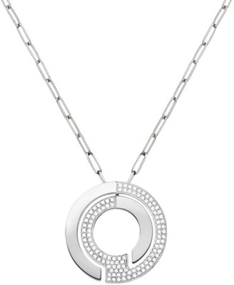 Dinh Van Seventies 18K White Gold & Diamond Pave Large Pendant Necklace