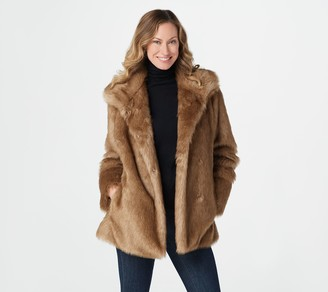 Dennis Basso Faux Fur Jacket with Stand Collar
