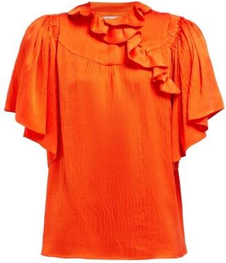 Preen by Thornton Bregazzi Wiona Ruffled Silk-satin Top - Red