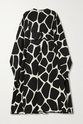Valentino Belted Printed Wool-twill Cape - Black