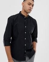Esprit slim fit grandad collar shirt in black